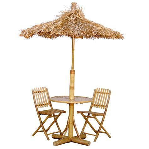 Bamboo54 Tiki Bistro Set with 2 Chairs and Thatch Umbrella