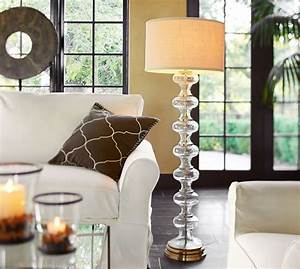 Jasmine glass floor lamp base pottery barn for Glass lantern floor lamp