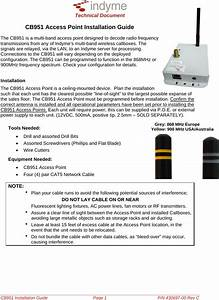 Indyme Solutions Cb951 Wireless Access Point User Manual