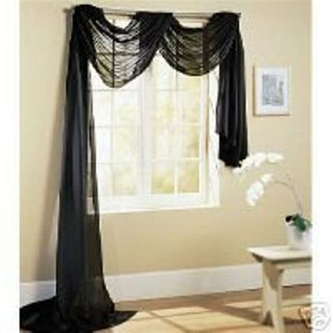 How To Drape Window Scarves - sheer voile 216 quot window scarf black ebay