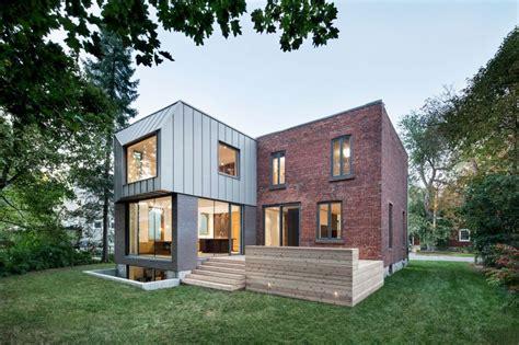 anbau vor haustür minimalistische terrasse vor backsteinbau mit modernem