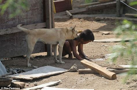 chained    dog  chinese boy   slave