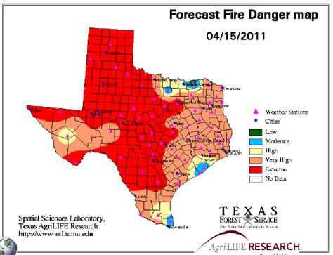 Texas Forest Service Burn Ban Map