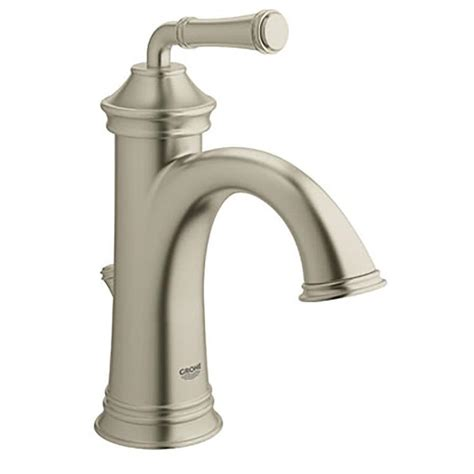 single hole bathroom sink faucet brushed nickel shop grohe gloucester brushed nickel 1 handle single hole
