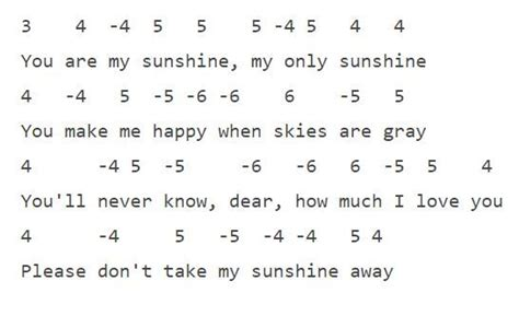"""Free piano worksheets & free sheet music for kids. """"You Are My Sunshine""""   Wildflower Harmonica Instruction   Harmonica lessons, Harmonicas, My ..."""