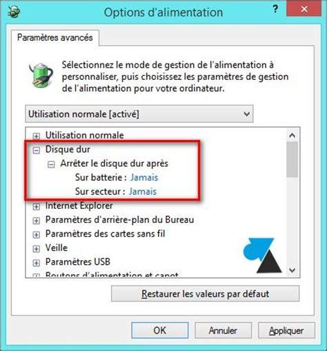 configurer pc de bureau désactiver la mise en veille du disque dur windowsfacile fr