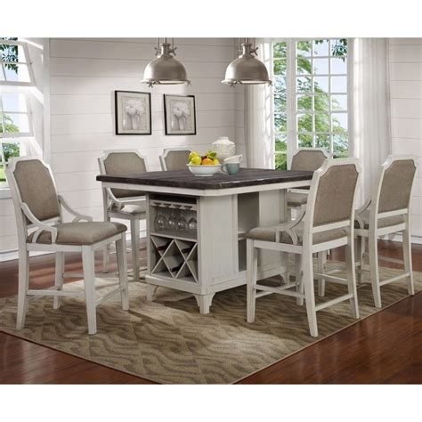 Avalon   Mystic Cay Kitchen Island With 6 Gathering Chairs