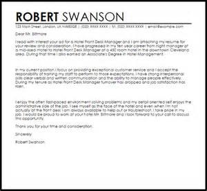 hotel front desk manager cover letter sle livecareer