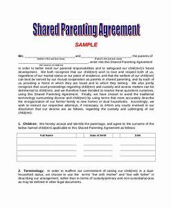 Parenting agreement templates 8 free pdf documents for Shared parenting plan template