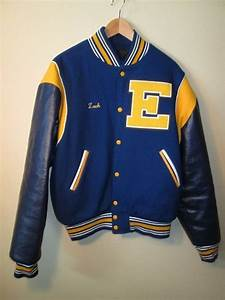 vintage letterman jacket blue yellow eisenhauer With stanford letter jacket