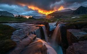 nature, , landscape, , hill, , trees, , clouds, , montana, , usa, , rock, , waterfall, , mountain, , sunset, , snow