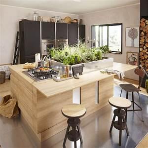 Meuble de cuisine decor chene blanchi delinia graphic for Idee deco cuisine avec meuble salle a manger chene blanchi
