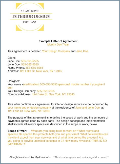 How To Write An Interior Design Letter Of Agreement Or