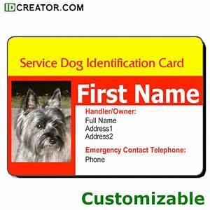 Id card templates from idcreatorcom call 855 make ids for Service dog id template