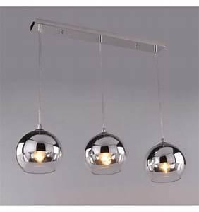 Suspension Luminaire En Verre Transparent : suspension triple chrom e et transparente e27 chicago ~ Teatrodelosmanantiales.com Idées de Décoration
