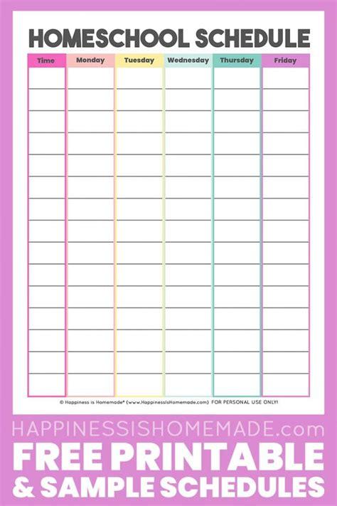 homeschool schedule template  printable happiness