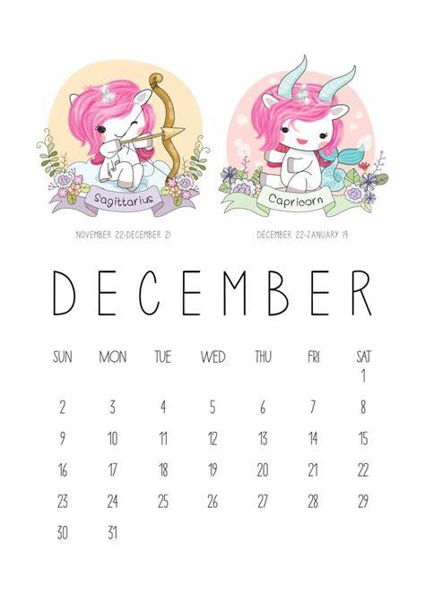 printable  zodiac sign kawaii unicorn calendar