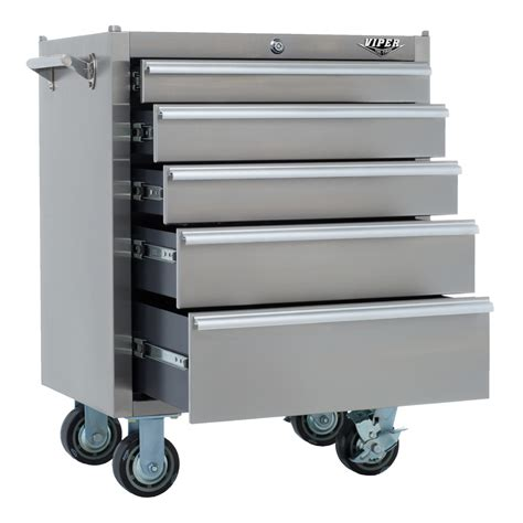 Stainless Steel Rolling Cabinet by Viper Tool Storage V2605ssr 26 Inch 5 Drawer 18g Stainless