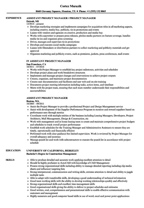 Project Assistant Resume by Assistant Project Manager Resume Sles Velvet