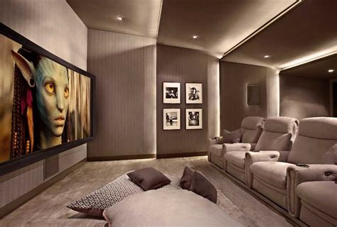 home theater interior design lower storey cinema room hometheater projector home theatre surround sound plasma tv