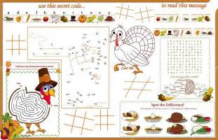placemat thanksgiving printable activity sheet 1 stock vector candywrap 69538983