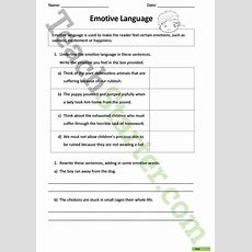 Emotive Language Worksheet Teaching Resource  Teach Starter