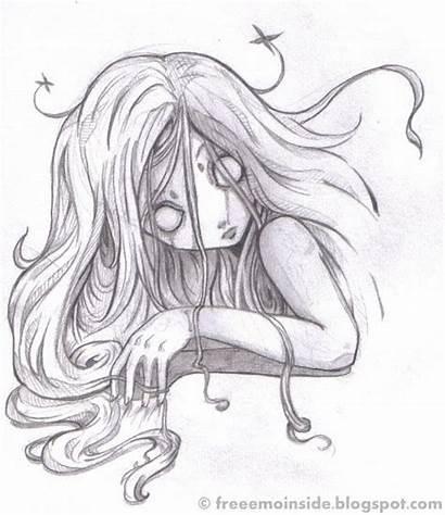 Anime Coloring Creepy Drawings Drawing Emo Halloween