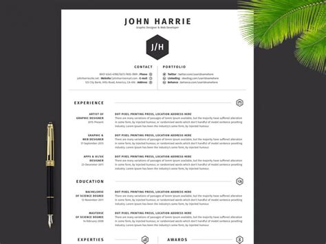 simple resume template   word psd ai formats