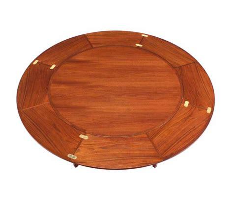 Rare Danish Modern Teak Round Expandable Top Dining Table