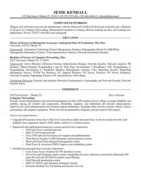 computer networking administrator resume