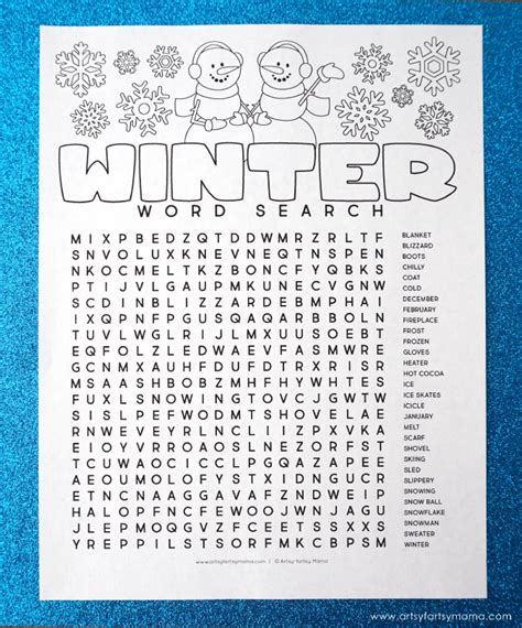 word search printable winter free printable winter word search coloring page artsy fartsy