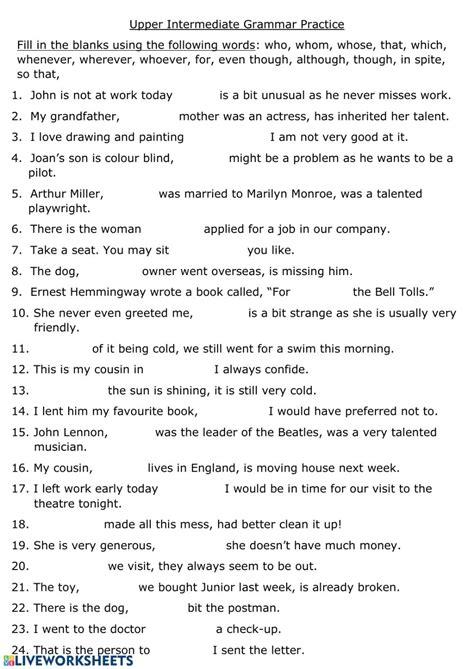 intermediate grammar practice interactive worksheet