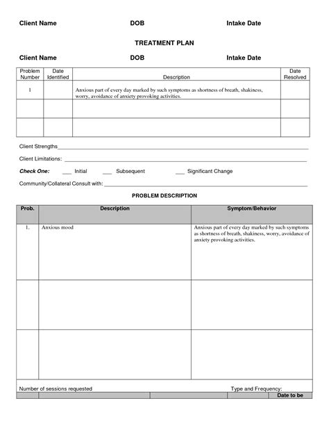 psychiatric template mental health treatment plan template sle treatment