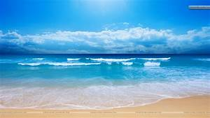 Cool Blue Sea Shore Scene And Waves Wallpaper