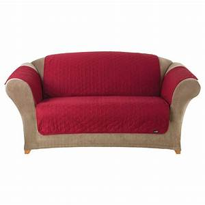 Shop quilted duck red duck canvas sofa slipcover at for Red sofa slipcovers