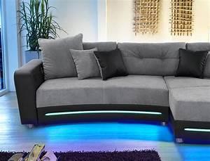 Sofa Mit Led Und Sound : multimedia sofa larenio hifi wohnlandschaft 322x200 cm grau schwarz wohnbereiche wohnzimmer sofa ~ Orissabook.com Haus und Dekorationen