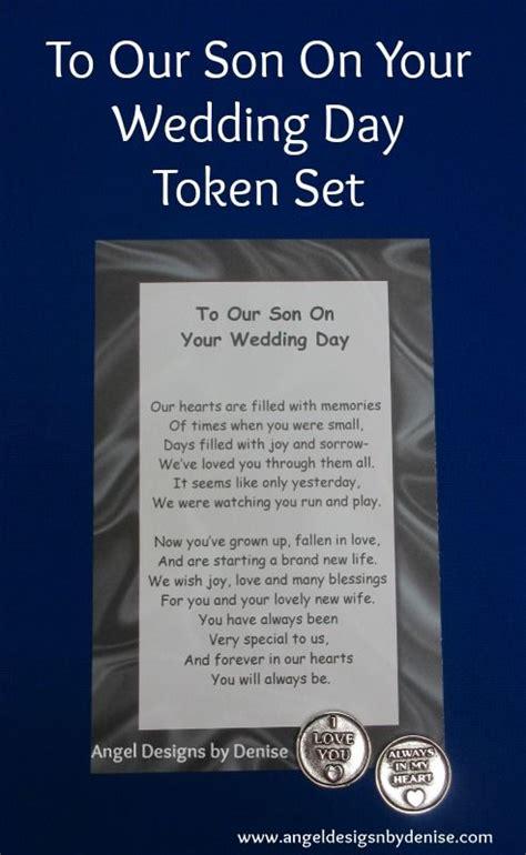 son   wedding day token set  poem   pewter token   perfect keepsake