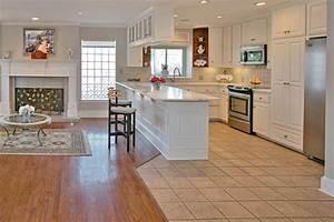 Ide de cuisine ouverte cuisine blanche et bois sol gris for Idee deco cuisine avec modele cuisine americaine