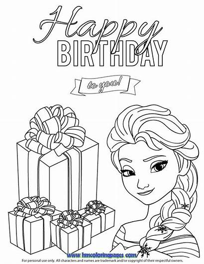 Coloring Birthday Printable Happy Pages Cards Elsa