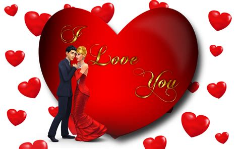 I Love You Loving Couple Red Heart Desktop Hd Wallpaper