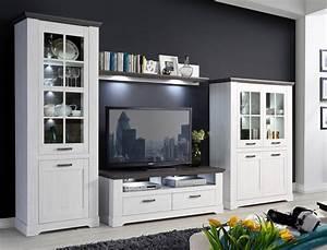Beistelltisch Weiß Landhaus : wohnwand weiss grau 4 teilig 356x210 beleuchtung ~ Watch28wear.com Haus und Dekorationen