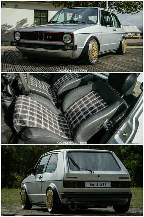 volkswagen car white plaid recaro seats on volkswagen golf mk1 rabbit gti