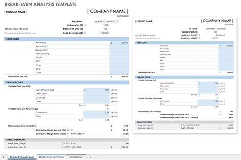 Even Analysis Template Free Financial Planning Templates Smartsheet