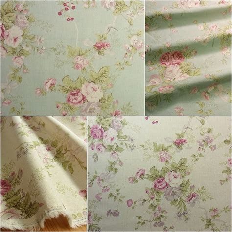 shabby fabrics vintage style shabby chic linen blend fabric rose flowers mint green ivory diy ebay