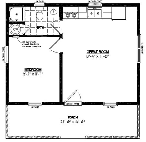 24x24 Lincoln Certified Floor Plan #24LN901 Cabin plans