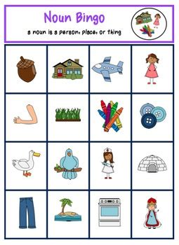 noun bingo   autism helper teachers pay teachers