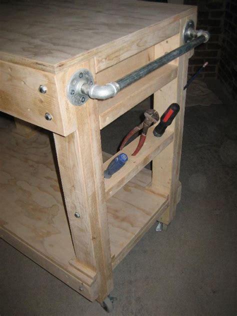 heres  diy portable garage workbench  wheels mesas