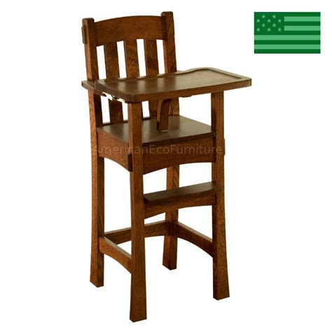 amish handcrafted arts crafts baby high chair solid wood american eco furniture