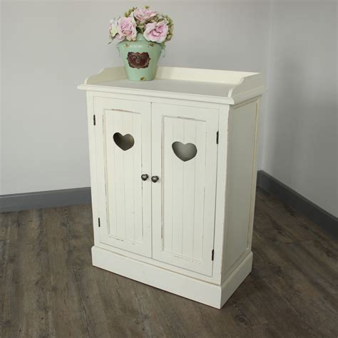 shabby chic cupboard ivory cream cupboard unit shabby french chic vintage heart furniture storage ebay