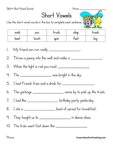 vowel worksheets